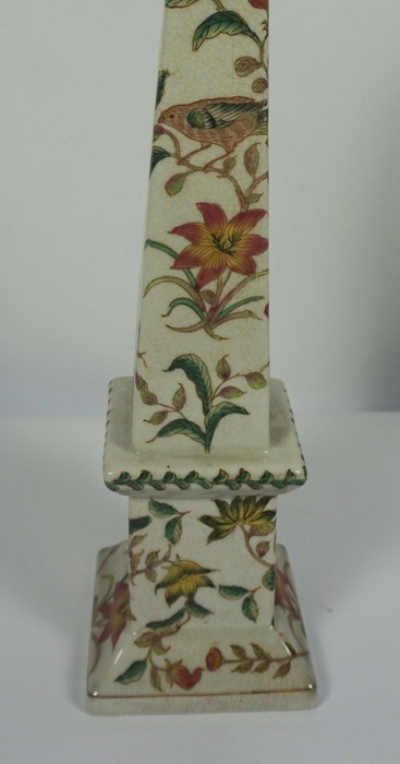Pair of Reproduction Chinese Crackle Glaze Obelisks, Decorated with allover panels of Birds in - Image 5 of 5