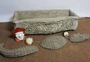 Composite Stone Garden Planter, 20cm high, 74cm wide, 35cm deep, With assorted Garden Ornaments (a