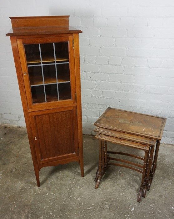 Mahogany Music Cabinet, 129cm high, 45cm wide, 39cm deep, With a Mahogany Nest of Three Tables, 53cm