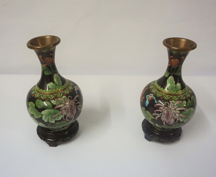 Pair of Chinese Cloisonne Vases on Copper (20th century) Of Baluster form, Decorated with floral