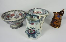 """Two Victorian Bells """"Butterfly"""" Pattern Pottery Punch Bowls, 15cm high, 25.5cm wide, With a"""