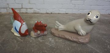 Three Painted Composite Stone Garden Figures, Modelled as a Seal, Fish and a Frog, Largest 10cm