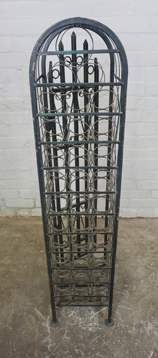 Gothic style Wine Rack, Having a door enclosing 36 open Bottle inserts, 131cm high, 30cm wide, - Image 4 of 4