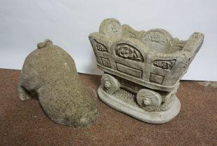 Composite Stone Garden Planter, Modelled as a Wagon, 29cm high, 34cm wide, With a Composite Stone