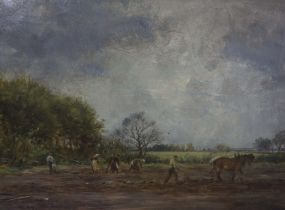 """William Darling McKay R.S.A (Scottish 1844-1924) """"Potato Planting in East Lothian"""" Oil on Canvas,"""
