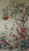 Chinese Embroidery on Silk (20th century) Decorated with Peacocks and Birds in Foliage, 115cm x 65.