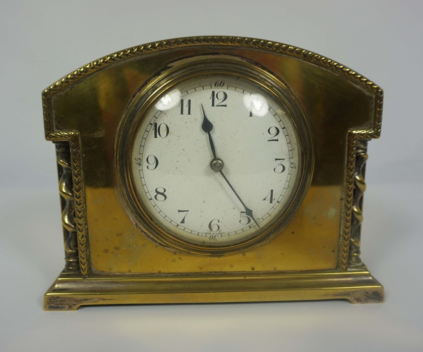 French Brass Cased Mantel Clock, circa late 19th century, 14cm high, With two Reproduction Mantel - Image 4 of 7