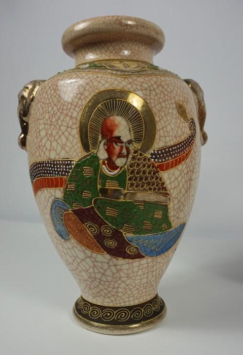 "Pair of Japanese Satsuma ""Samarai"" Crackle Glaze Vases (20th century) 27cm high, (2) - Image 2 of 4"