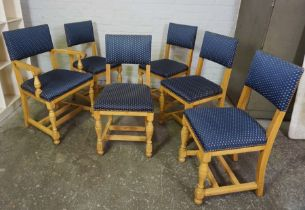 Set of Six Blonde Oak Dining Chairs, Having one Carver chair, Upholstered in later blue fabric,