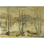 "Edith Lawrence (1890-1973) ""Loch Scene"" Watercolour, Signed, 34cm x 49.5cm, *Artist Resale"