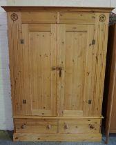 Modern Pine Wardrobe, Having two Doors above two Drawers, 200cm high, 147cm wide, 56cm deep