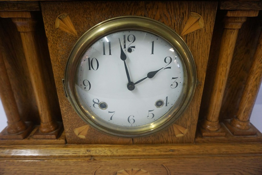 American Oak Inlaid Mantel Clock, circa late 19th century, In the Corinthian manner, Having a twin - Image 2 of 4