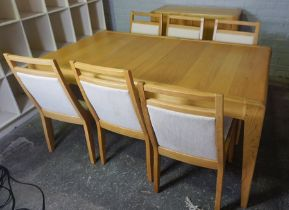 Danish style Eight Piece Contemporary Dining Room Suite, Comprising of Sideboard, Extending Dining