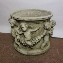 Composite Stone Garden Jardiniere, Decorated with allover Putti, 33cm high, 37cm wide, Matches lot