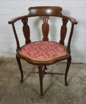 Edwardian Mahogany Inlaid Chair, Having a Serpentine shaped front, 79cm high