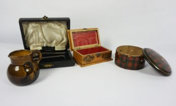 Tartanware String Box, 5cm high, 10cm wide, With a Mauchline Ware Burns Monument themed Box,