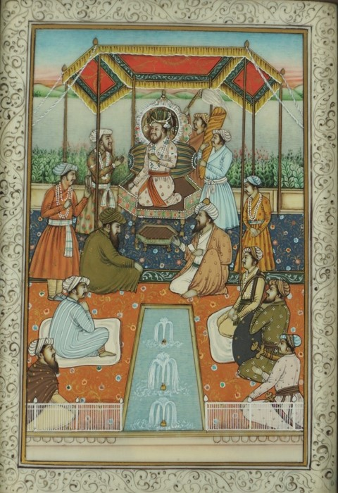 """Mughal School, circa 19th century """"Figures in a Palace scene"""" Watercolour on Ivory, 13cm x 9cm,"""