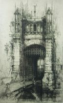 """Hedley Fitton (1859-1929) """"Gateway, Hever Castle Kent"""" Original Proof Etching, Signed in pencil,"""