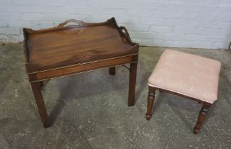 Mahogany Tray Top Occasional Table, 53cm high, 66cm wide, 46cm deep, With a Mahogany Footstool (2)