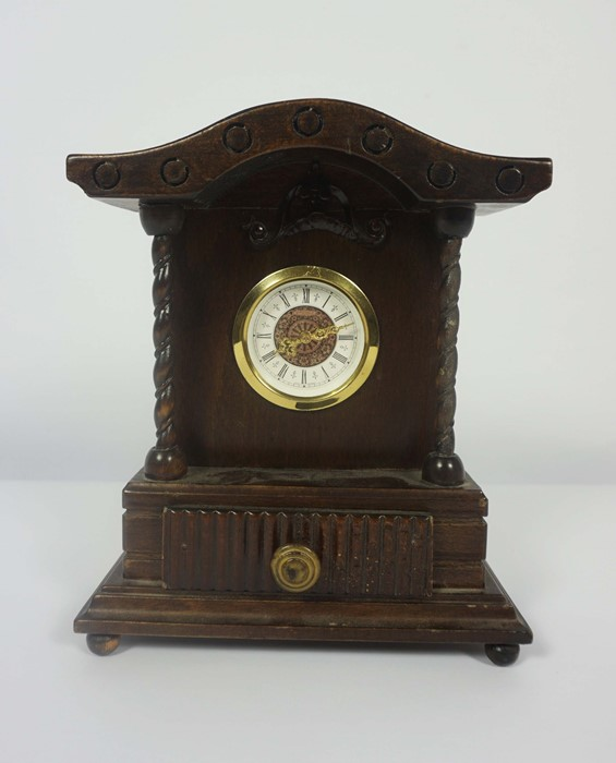 French Brass Cased Mantel Clock, circa late 19th century, 14cm high, With two Reproduction Mantel - Image 2 of 7
