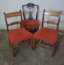 Pair of Regency style Mahogany Dining Chairs, 90cm high, With a Hepplewhite style Chair (3)
