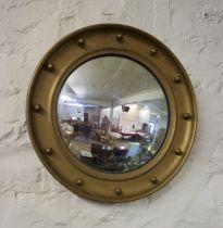 Convex Wall Mirror, circa late 19th / early 20th century, 48cm diameer