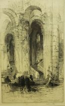 """Hedley Fitton (1859-1929) """"Cloisters"""" Original Etching, Signed in pencil, 34.5cm x 21cm, Label to"""