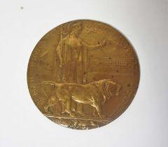 WWI Bronze Death Plaque, For Albert James Garner, 12cm diameter