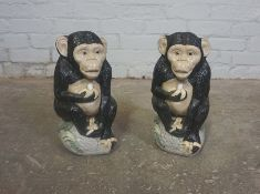 Two Painted Composite Stone Garden Figures, Modelled as Monkeys, 14cm high, (2)