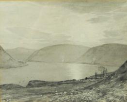"Tom Scott (Scottish 1854-1927) ""St Marys Loch"" Grisaille, Signed, 24cm x 30.5cm, Artist label to"