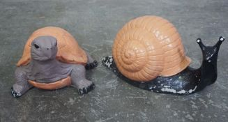 Two Painted Composite Stone Garden Figures, Modelled as a Snale and a Tortoise, Largest 9cm high, (