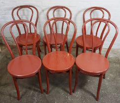 Set of Six Vintage French Painted Bentwood Cafe Chairs, 90cm high (6)