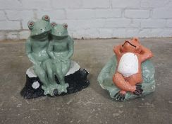 Two Painted Composite Stone Garden Figures, Modelled as Frogs, Largest 12cm high, (2)