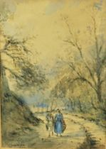 """J.P Prentice (19th century) """"Lord with Figure near Newbattle"""" Watercolour, Signed and Dated 1861,"""