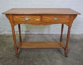 Oak Side Table, circa early 20th Century, Having two small drawers above an undertier, 76cm high,