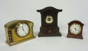 French Brass Cased Mantel Clock, circa late 19th century, 14cm high, With two Reproduction Mantel