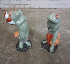Two Painted Composite Stone Garden Figures, Modelled as two Frogs, Largest 15cm high, (2)