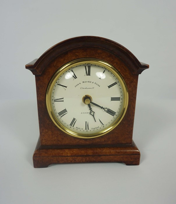 French Brass Cased Mantel Clock, circa late 19th century, 14cm high, With two Reproduction Mantel - Image 6 of 7
