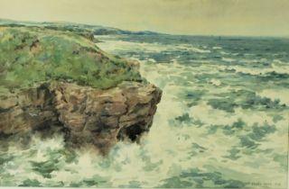 "Frank Watson Wood (1862-1953) ""Berwickshire Coast, Towards St Abbs Head and Fast Castle"""