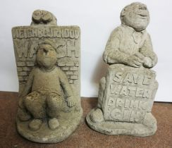 Two Composite Stone Garden Figures, Modelled as a Male with Slogan, 40cm high, (2)