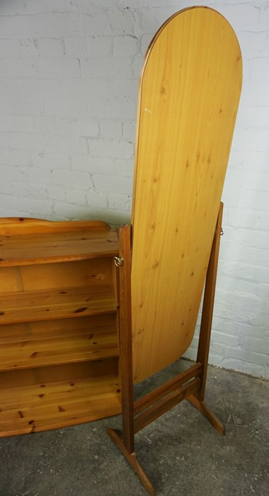 Pine Open Bookcase, 84cm high, 90cm wide, 26cm deep, With a Pine framed Cheval Mirror, (2) - Image 4 of 5