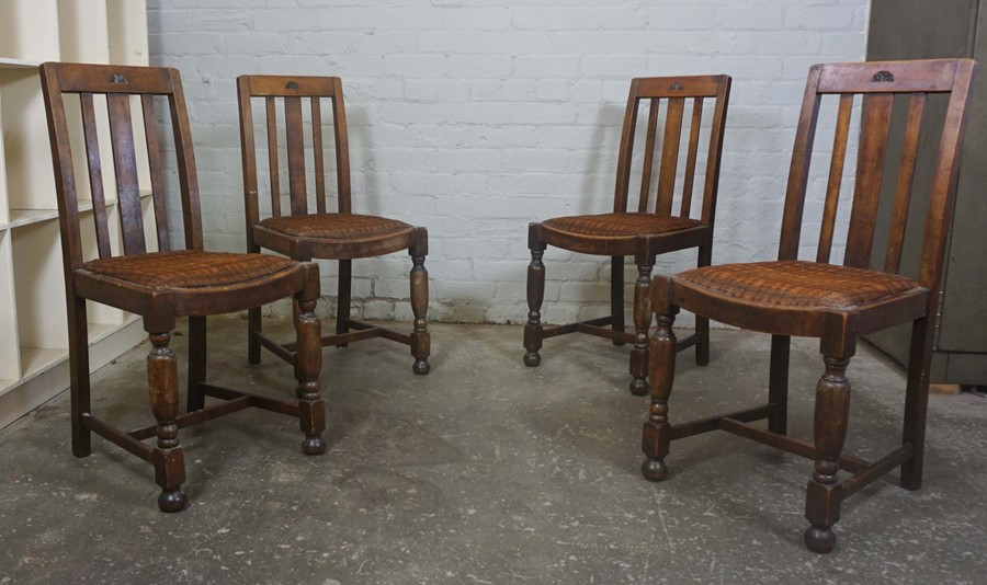Set of Four Vintage Dining Chairs, 90cm high, (4)