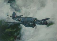 "David D Clayton ""Beaufighter X Over East Lothian"" Print, 31cm x 43cm"