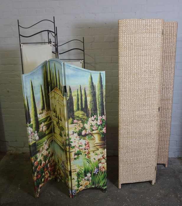 Three Folding Screens, Tallest 173cm high, 120cm wide, (3)