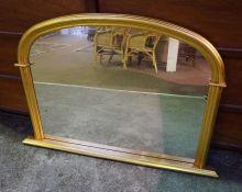 Modern Gilt Overmantel Mirror, 80cm high, 118cm wide