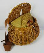 Wicker Fishing Creel, Enclosing sacks