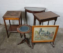 Four Assorted Occasional Tables, Largest 74cm high, 66cm wide, With a Firescreen, (5)