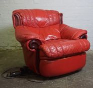 Red Leather Electric Reclining Armchair, 92cm highCondition reportNot tested, sold as seen