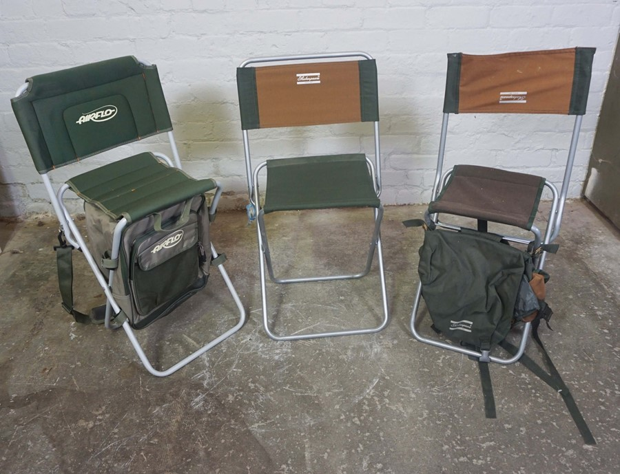 Three Folding Fishermans Chairs by Shakespeare and Airflo, Largest 81cm high, (3)