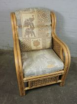 Three Matching Bamboo style Conservatory Armchairs, 92cm high, (3)